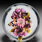 Clinton Smith 2016 Floral Pink  Purple Bouquet with berries glass paperweight