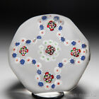 Antique Baccarat quatrefoil millefiori garland faceted glass paperweight