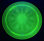 Green Vaseline Uranium Depression Princess Glass Dessert Appetizer Plate w Feet