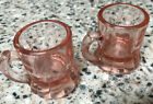 Lot 2 ANTIQUE SMALL PINK DEPRESSION GLASS MUGS 2 tall VINTAGE TINY