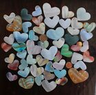 50 Beach Glass Hearts medium to large ALL MURANO ART GLASS Great Colors