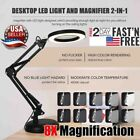 Magnifier LED Lamp 8X Magnifying Glass Desk Table Light Reading Lamp With Base