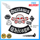 OUTLAWS CHICAGO PATCH FULL SET EMBROIDERY PATCHES SKULL PATCH LARGE IRON ON VEST