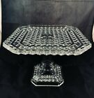 Antique EAPG Pattern Diamond Glass Star Square Large Pedestal Cake Stand