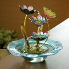 Iridescent Glass Butterfly  Water Lilies Porch Patio Tabletop Water Fountain