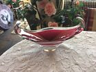Flygsfors 62 Sweden Cased Art Glass Bowl Pink Cranberry Signed Coquille