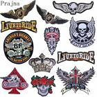 Big Stalker Iron On Patch Tiger Wings Badge Biker Punk Skull Embroidered Patches