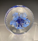 Rare Joe Rice Engraved Cut Standing Blue Flowers Blown Paperweight