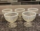 5 FENTON Moonstone Hobnail Glass Clear Opalescent Footed Sherbet Dessert Cups