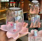 Cute Cat Starbucks Cup Cherry Blossom inverted Mug Pink Sakura Double Glass Cup