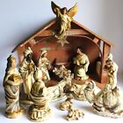 Vintage Japan Paper Mache 13 Piece Nativity Set  Lighted Musical Wood Stable 9