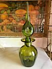 VTG MCM Blenko Green Pinched Decanter With Stopper Rainbow Art Glass