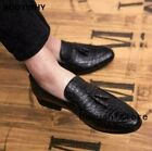 Mens Formal Slip on Loafers NightClub Leather Alligator Shoes Tassels Dress Size