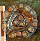 Higgins Round Tray Mid century Modern Atomic Fused Art Glass Colorful Jewels