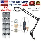 5X Magnifying Glass Desk Magnifier Lamp USB LED Light Reading Foldable w Clamp