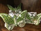 Mexican Wall Decor Glass Clay Butterfly Folk Art Pottery Set of 3 Green