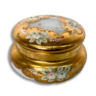Vintage White and Gold Bohemian Candy Jar Glass Luxury Boro Enameled Crystal