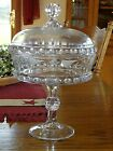 1880s Ripley EAPG Pattern Glass Etched DAKOTA Baby Thumbprint Covd Compote