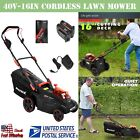 40V 16Inch Cordless Twin Force Lawn Mower With 2x2Ah Batteries  Charge US Stock