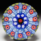 Strathearn radial spokes on blue ground glass paperweight