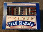 WILLIAMS SONOMA FOURTH 4TH OF JULY AMERICAN FLAG GLASS SET OF 6 STARS  STRIPES