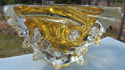 Signed LEON APPLEBAUM ART GLASS HEAVY Dish BOWL Clear  Golden Yellow