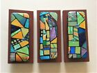 3 PC FUSED DICHROIC GLASS WALL ART UNIQUE  ORIGINAL