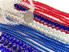 Red White Blue Glass Beads Bulk Lot Beads Pearl Crystal Glass Patriotic 10 lb