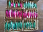 38 Vintage Green  Pink Glass Teardrop Oblong Christmas Ornaments Boxed