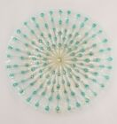 HTF Higgins Art Glass 12 Plate MCM Starburst Aqua  Gold Stunning Round Glass