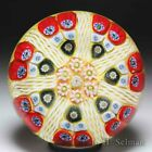 Strathearn radial spokes on yellow ground glass paperweight