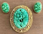 GORGEOUS VINTAGE NAPIER PEKING GLASS BROOCH PENDANT AND EARRING SET