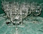 SET OF 11 CRYSTAL CLEAR OPTIC FLORAL ETCH WATER WINE GOBLET GLASSES