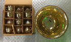 Punch Bowl and Cup Set Indiana Glass Gold Carnival Harvest Princess Grape 13 pc