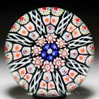 Strathearn radial spokes on black ground glass paperweight