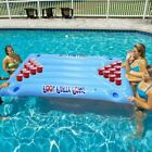 Inflatable Beer Pong Table Pool Float PVC Party Air Mattress Lounge Ice Bucket