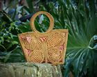 FRESH FROM BALI Rattan bag butterfly tote  summer beach style hand crafted