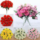 18 Heads Silk Rose Flowers Artificial Fake Bouquet Wedding HomeParty Decoration