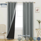 2 Panels Window Curtain Eyelets Blackout Solid Curtain Drapes Thermal Insulated