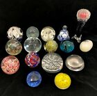 Lot of 16 Vintage Art Glass Paperweights Floral Apple Egg Millefiori  More