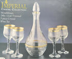 CRYSTAL COLLECTION MOUTHBLOWN 24k GOLD TRIMMED 5 PIECE CRYSTAL WINE SET