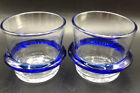 2003 Blenko Etched Glass Cobalt Blue Ringed Tumbler Old Fashioned Set of Two