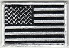 100 Pcs USA American Flag B W Embroidered Patches 3x2 iron on