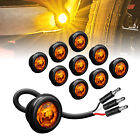10pc34 Round Dot P2pc Amber Turn Signal Led Trailer Clearance Marker Light