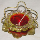 Antique Master Salt Cranberry Art Glass with Sterling Spoon