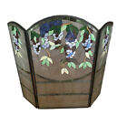 Fireplace Screen Tiffany Style Stained Glass 3 Section Wisteria