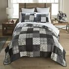 QUILT SET Bedding REVERSIBLE COUNTRY FARMHOUSE BLACk WHITE LONDON Collection