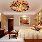 Tiffany Stained Glass Peacock Tail Chandelier Flush Mount Ceiling Light Dia 20in