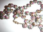 Vintage Wedding Cake Blue with Pink Roses Lampwork Bead Necklace 26 Art Glass