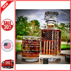 We The People American Flag 360 Wrap US Constitution Glass Engraved Whiske